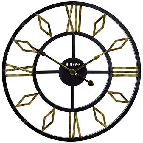 bulova diamond gallery black metal 36 round wall clock 21n89
