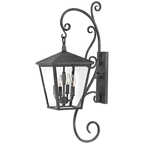 """Trellis 33 3/4"""" High Aged Zinc 4-Light Outdoor Wall Light"""