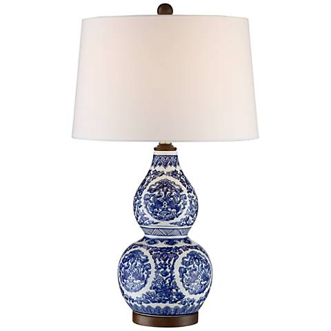 Esther Blue and White Ceramic Gourd Table Lamp