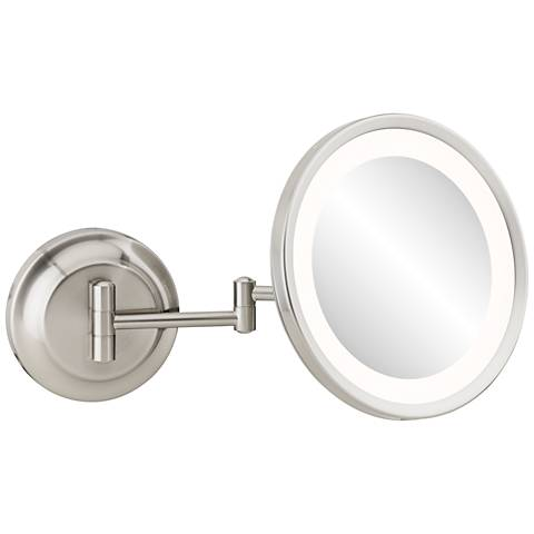 Single-Sided Polished Nickel 5X Magnifying LED Makeup Mirror