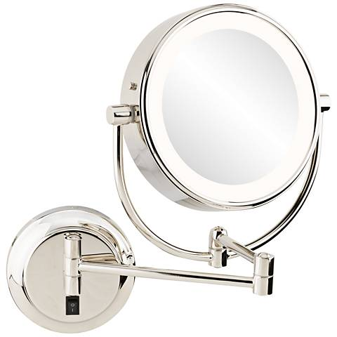 Neomodern 1 3 4 Quot Polished Nickel Led Wall Makeup Mirror