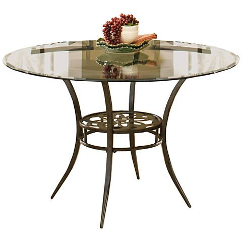 Hillsdale Marsala Glass Top and Brown Round Dining Table