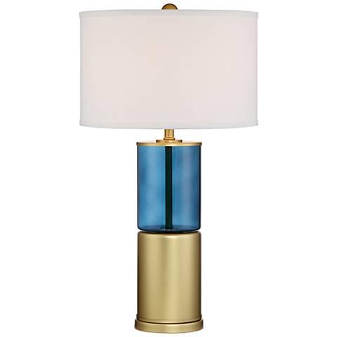 Aldo Blue Brass Glass Metal Table Lamp