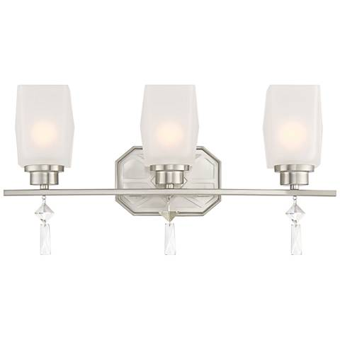 "Brentwood 20 1/4"" Wide Satin Platinum 3-Light Bath Light"