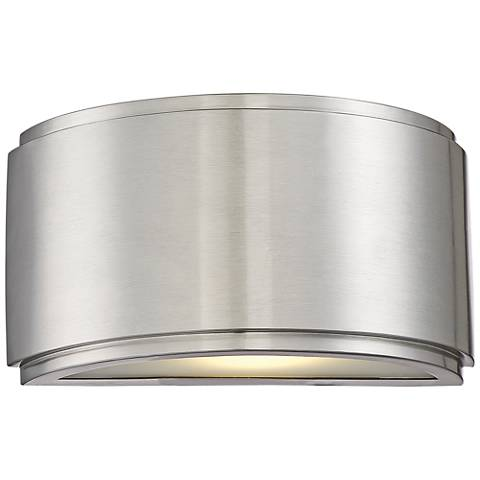 "Halsey 5""H Brushed Aluminum Large LED Outdoor Wall Light"