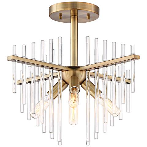 "Reeve 17""W Burnished Antique Brass 4-Light Ceiling Light"