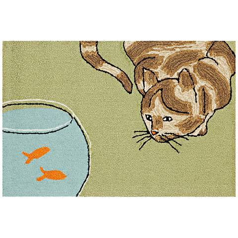 Frontporch Curious Cat 143006 Green Outdoor Area Rug