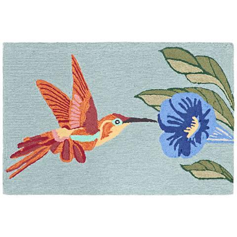 Frontporch Hummingbird 152703 Blue Outdoor Area Rug
