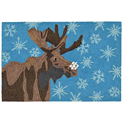 Frontporch Moose and Snowflake 186003 Blue Outdoor Rug