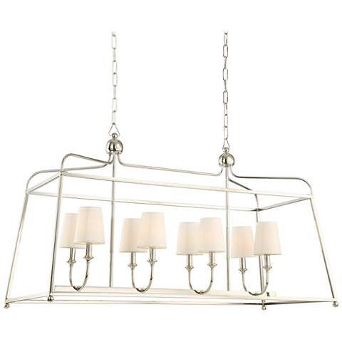 "Crystorama Sylvan 42"" Wide Nickel 8-Light Island Pendant"