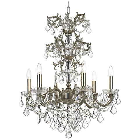 "Crystorama Highland Park 24 1/2""W Silver 6-Light Chandelier"