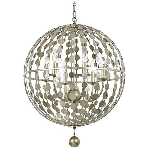 "Crystorama Layla 22"" Wide Antique Silver 6-Light Pendant"