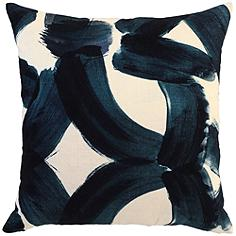 "Raye Ink Blue 22"" Square Decorative Pillow"
