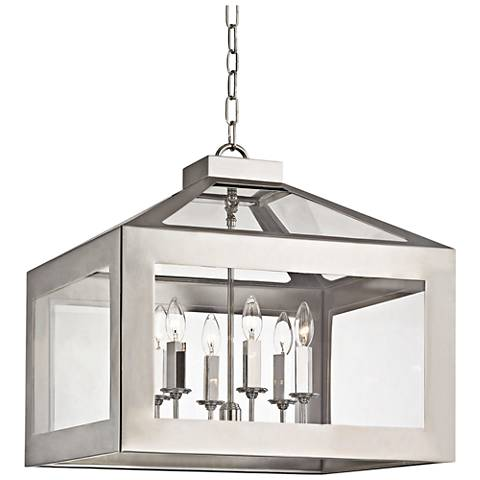 "Crystorama Hurley 19 1/2"" Wide Nickel 6-Light Pendant"