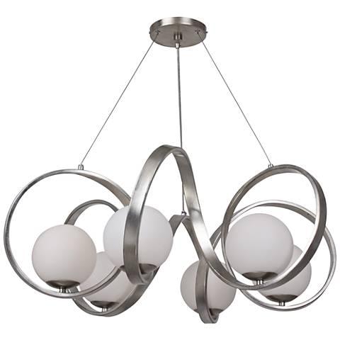 "Crystorama Arlo 32"" Wide Antique Silver 6-Light Pendant"
