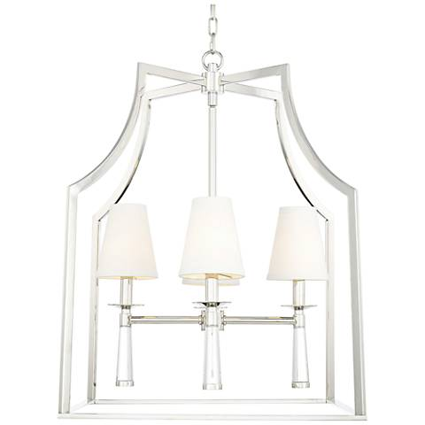 "Crystorama Baxter 30"" Wide Polished Nickel 4-Light Pendant"