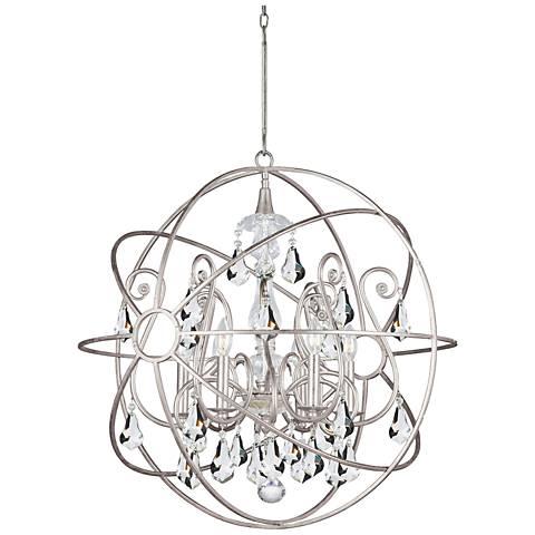 "Crystorama Solaris 28""W Olde Silver Sphere 6-Light Pendant"