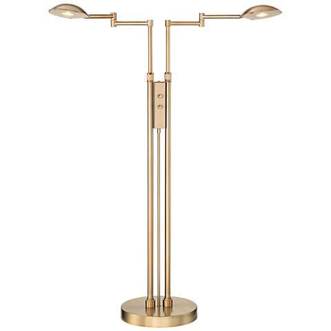 Eliptik French Brass Satin LED Double Swing Arm Floor Lamp