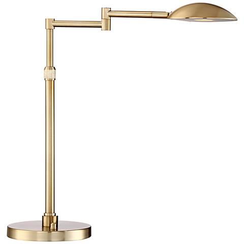 Possini Euro Eliptik Swing Arm LED Desk Lamp French Brass