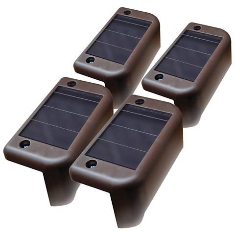 """Brown 1 3/4"""" Wide Solar LED Deck Light Set of 4"""