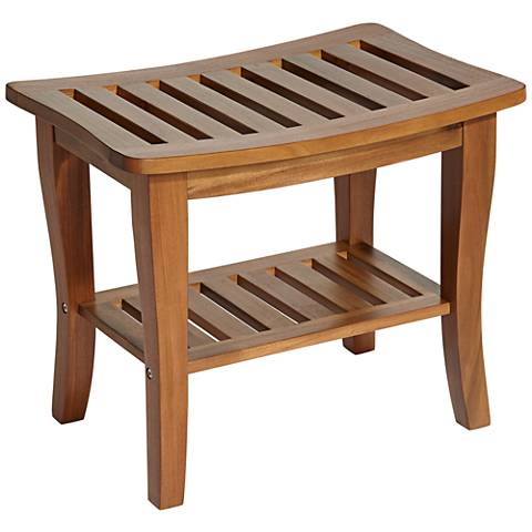 Briar Acacia Wood Slat 1-Shelf Shower Bench