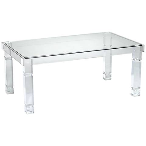 Clear Acrylic Rectangular Coffee Table
