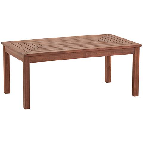 Nantucket 42 wide dark natural wood outdoor coffee table for Coffee tables 30cm wide