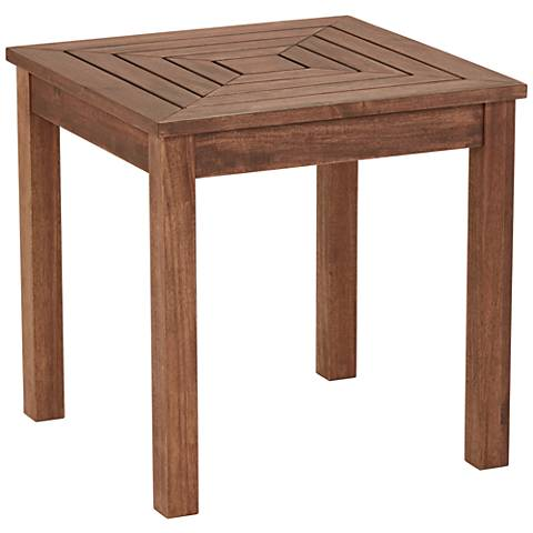 Nantucket 20 wide wood outdoor accent end table 22v64 for Wide side table