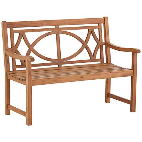 "Noah 47 1/4"" Wide Natural Wood Outdoor Bench"