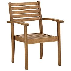 "Nantucket 24"" Wide Natural Wood Outdoor Arm Chair"
