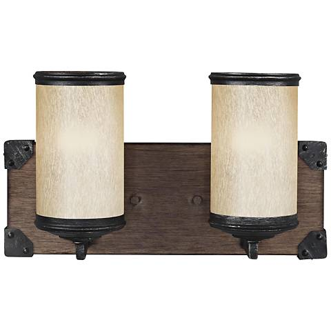 "Dunning 8 1/4"" High Stardust and Oak 2-Light LED Wall Sconce"