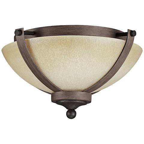 "Corbeille 15 1/4""W Stardust and Cerused Oak Ceiling Light"