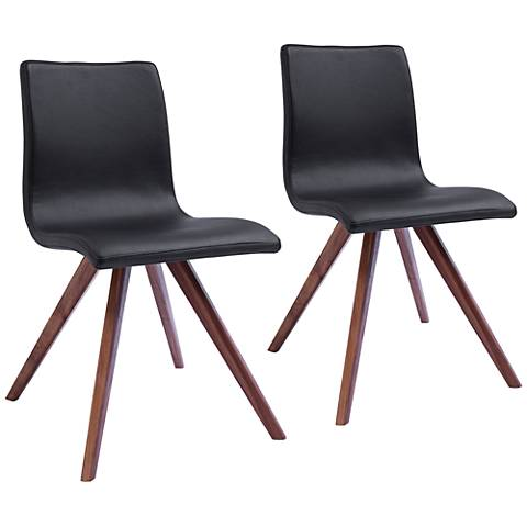 Olga Black Faux Leather and Natural Dining Chair Set of 2
