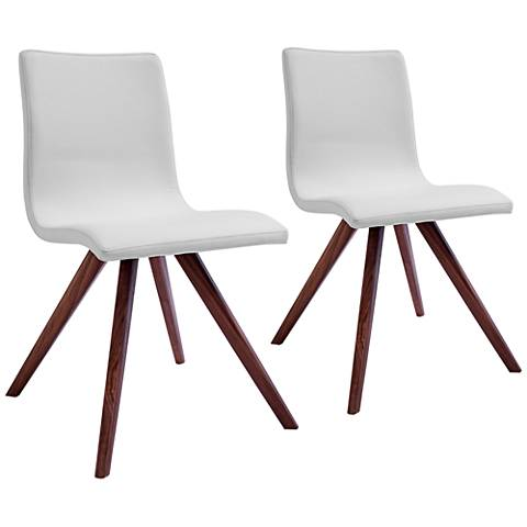 Olga White Faux Leather and Natural Dining Chair Set of 2