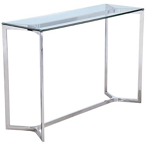 Aventura clear glass top and stainless steel console table for 8 deep console table