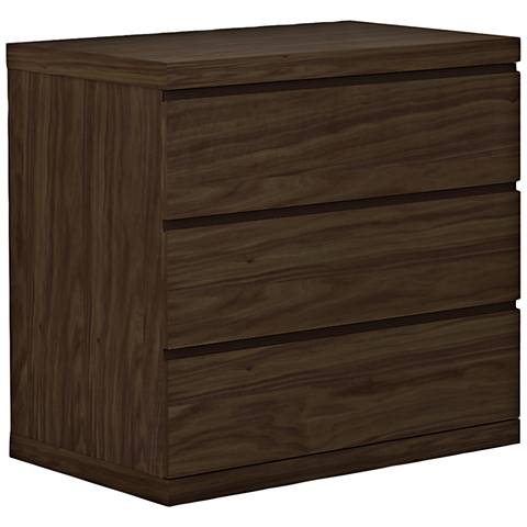 Anna Natural Walnut Wood 3-Drawer Single Dresser