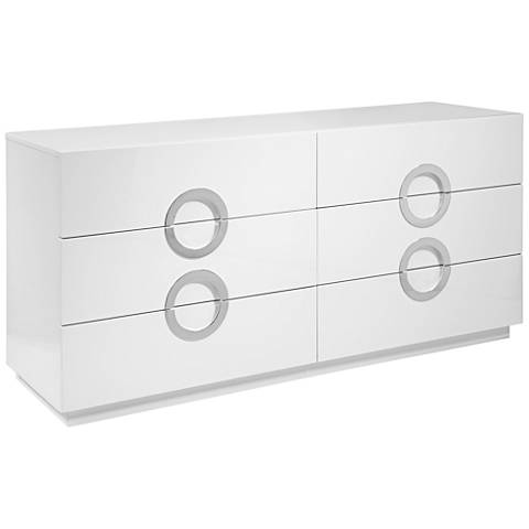 Eddy High Gloss White Wood 6-Drawer Double Dresser