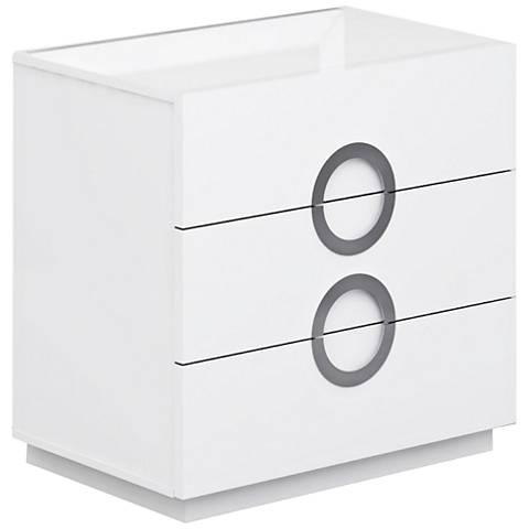 Eddy High Gloss White Wood 3-Drawer Single Dresser