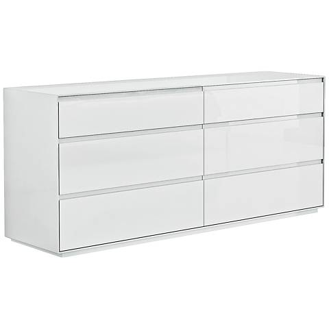 Malibu High Gloss White Wood 6-Drawer Dresser