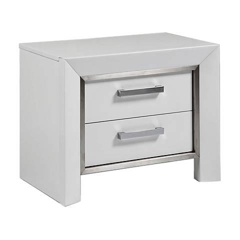 Ibiza High Gloss White Wood 2-Drawer Nightstand