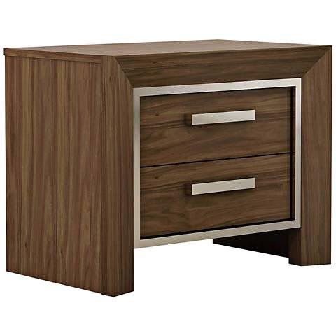 Ibiza Natural Walnut Wood 2-Drawer Nightstand