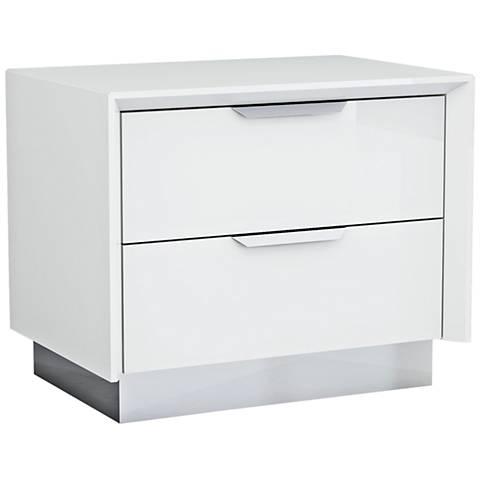 Navi High Gloss White Wood 2-Drawer Nightstand