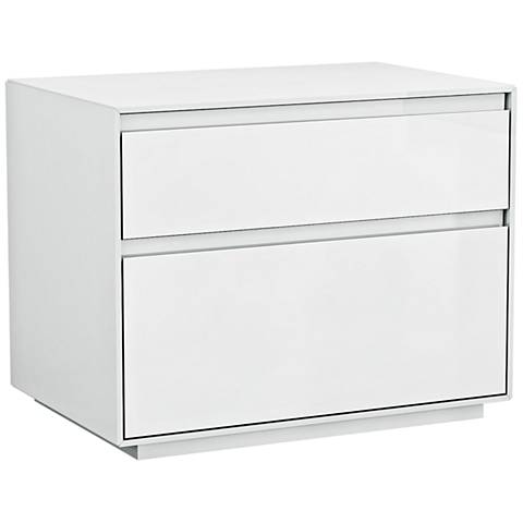 Malibu High Gloss White Wood 2-Drawer Night Stand