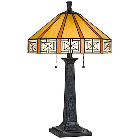 Devon Tiffany Stained Glass Table Lamp with Square Base
