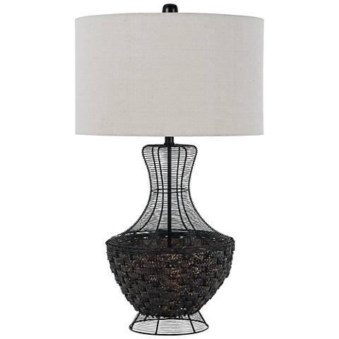 Marana Black Mesh and Wicker Metal Table Lamp