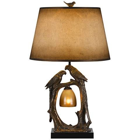 Nature Theme Antique Bronze Table Lamp with Paper Shade