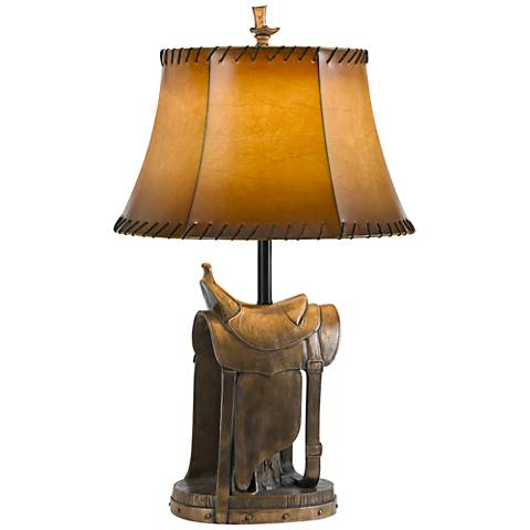 Cowboy Saddle Antique Bronze Table Lamp w/ Leatherette Shade