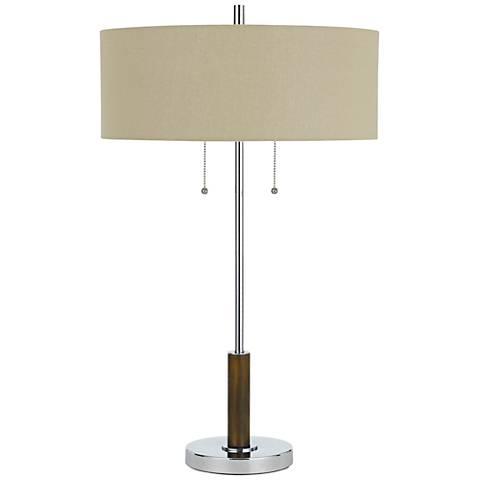 Bari Chrome Metal Table Lamp with Burlap Shade