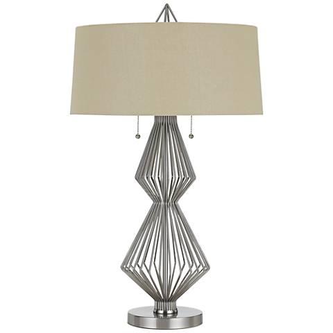 Terni Brushed Steel Metal Table Lamp with Burlap Shade
