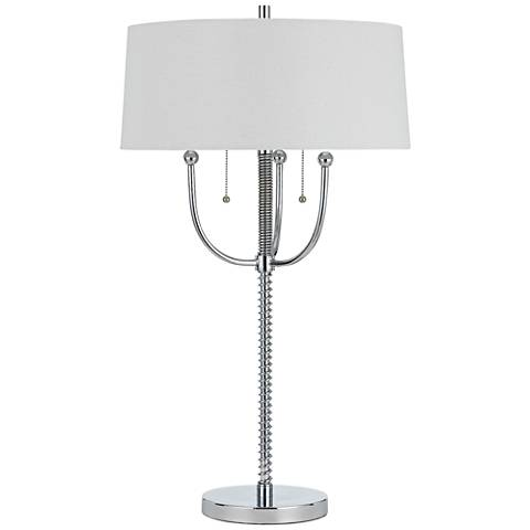 Lesina Chrome Metal Table Lamp with Linen Shade
